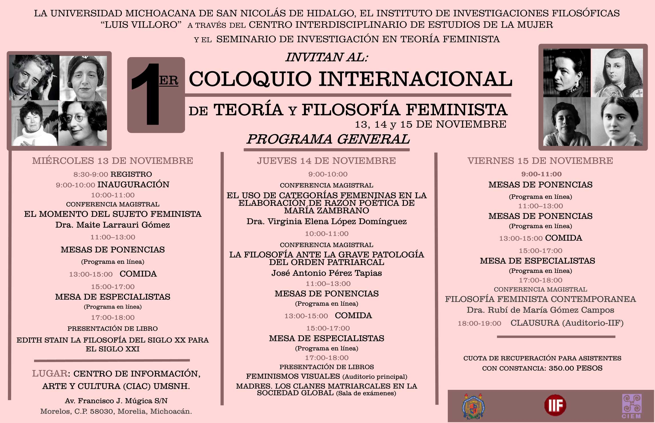 Programa del Primer Coloquio Internacional en Filosofía Feminista